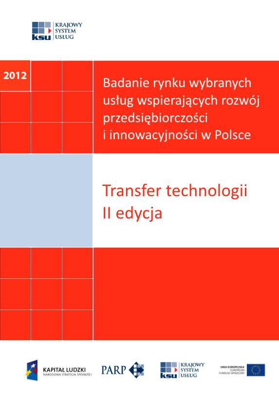 Badanie rynku wybranych usług wspierających rozwój przedsiębiorczości i innowacyjności w Polsce - Transfer technologii - II edycja